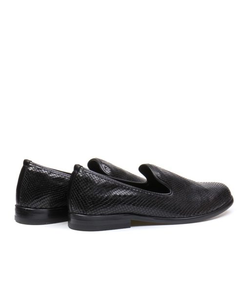 Лоферы York black reptile loafers
